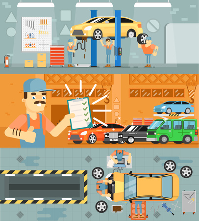 spares: Car repair service concept banner vector illustration. Car mechanic in workshop, automobile servicing centre and garage, auto spares, maintenance, tuning and diagnostics. Serviceman in uniform at work Illustration