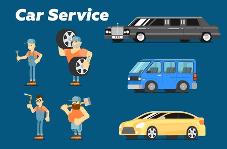 spares: Car repair service concept banner vector illustration. Serviceman in uniform at work. Car mechanic with tool, automobile servicing centre and garage, auto spares, maintenance, tuning and diagnostics. Illustration