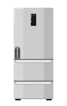 Modern home refrigerator isolated on white background vector illustration. Household appliances in flat design. Kitchen equipment. Home electro technics. Fridge, freezer icon