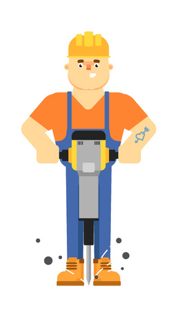 Worker builder in uniform and helmet holding pneumatic jackhammer isolated on white background vector illustration. Smiling construction worker character in flat design.