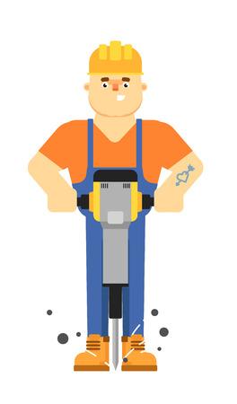 Travailleur constructeur en uniforme et le casque de maintien jackhammer pneumatique isolé sur fond blanc illustration vectorielle. Sourire caractère travailleur de la construction dans la conception plate.
