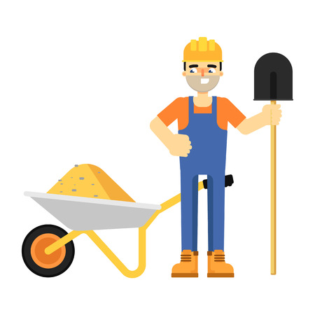 roadwork: Worker builder in uniform and helmet with shovel and full wheelbarrow isolated on white background vector illustration. Smiling construction worker character in flat design.