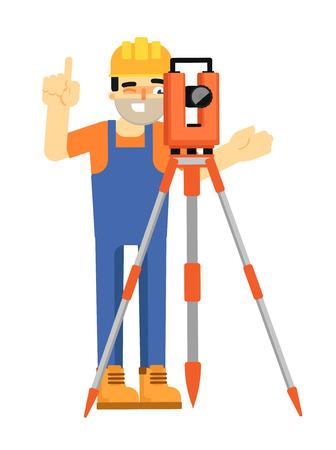 topografia: Constructor del trabajador en uniforme y casco con el dispositivo geodésico aislado en el fondo blanco ilustración vectorial. carácter geodesist en diseño plano. Instrumento de estudio. Topografía en la construcción Vectores