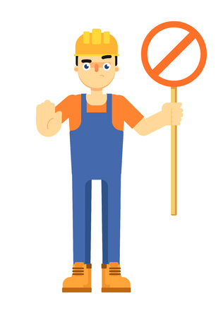 Worker builder in uniform and helmet holding road stop sign isolated on white background vector illustration. Smiling construction worker character in flat design.