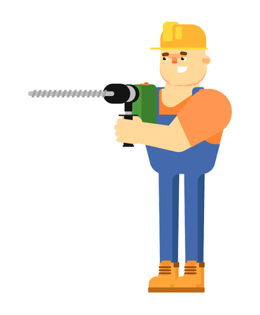 Worker builder in uniform and helmet holding professional perforator isolated on white background vector illustration. Smiling construction worker character in flat design.