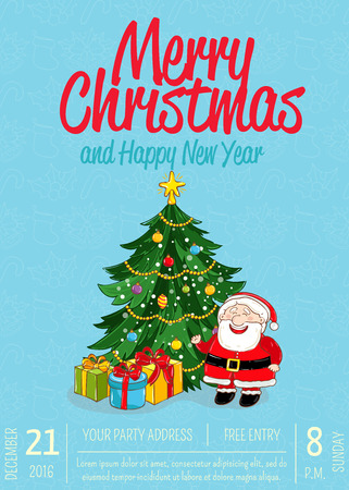 Christmas party promo poster with date and time. Santa, wrapped gifts, decorated toys Christmas tree cartoon vector on blue background. Merry Christmas and Happy New Year greetings. Xmas celebrating