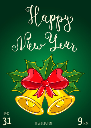 Christmas party promo poster with date and time. Christmas bells with holly leaves, red ribbon bow cartoon vector on green background. Merry Christmas and Happy New Year greetings. Xmas celebrating