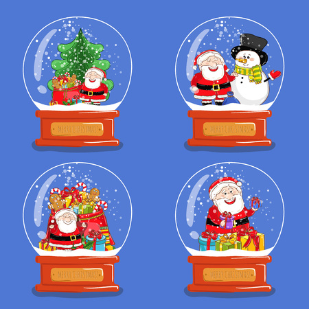 snowdome: Christmas snow globes. Santa, snowman, sack of gifts, Christmas tree cartoon vectors. Glass souvenir with Xmas attributes or character. Merry Christmas and Happy New Year concepts set isolated on blue