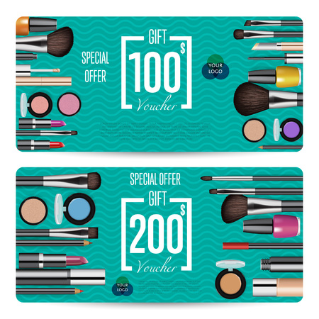 qrcode: Cosmetics gift voucher template. Gift coupon with fashion makeup accessories and prepaid sum. Makeup brush, powder, lipstick, pencil, polish vectors. Special exclusive offer for cosmetics product sale Illustration