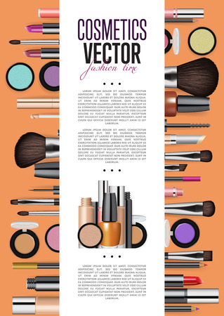 publication: Cosmetic product presentation booklet cover. Makeup accessories set on orange. Brush, powder, lipstick, eye pencil, nail polish vectors. Cosmetics promo brochure page template for magazine publication