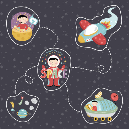 astronomic: Space concept in cartoon style. Rocket, astronaut, exploration, star, planet, comet, asteroid vector icons isolated on starry grey background set. Astronomic illustration for childrens book Illustration
