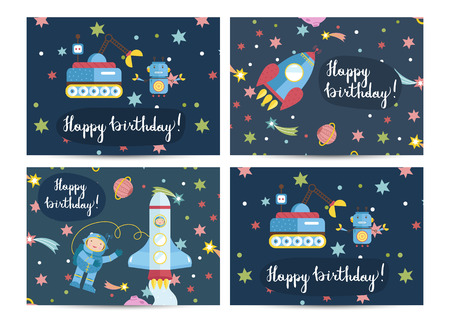 Happy Birthday Cartoon Greeting Cards On Space Theme Spaceship