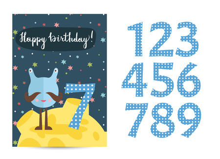 moustached: Happy birthday cartoon greeting card template with digits set on space theme. Funny moustached alien, colorful stars, Moon vector on blue background. Editable invitation on childrens costumed party