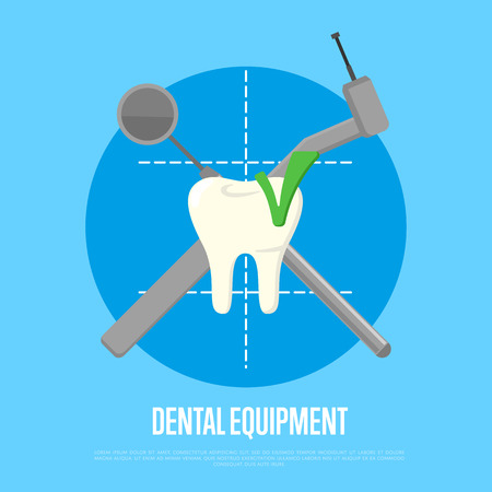 Dental equipment banner with drill and mirror crosswise on blue background. Dentistry isolated vector illustration. Medical professional equipment. Healthcare and tooth care concept. Dental hygiene