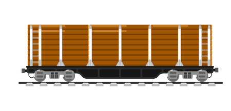 freight container: Railway wagon isolated on white background vector illustration. Railroad transport design element. Side view freight container. Cargo train on railroad. Rail carriage in flat design