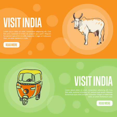 india cow: Visit India horizontal banners. Sacred white cow and motorikshi hand drawn vector illustrations. Web templates with country related doodle symbols. For travel company landing page design