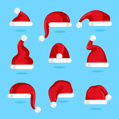 Red Santa Claus hat collection. Christmas element isolated on blue background vector illustration. Santa hat icons in flad design. Merry Christmas concept Illustration