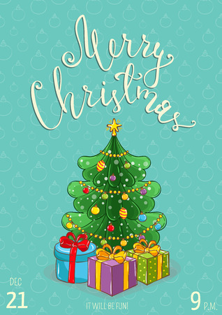 Christmas party promo poster with date and time. Wrapped gifts near decorated Christmas tree cartoon vector on turquoise background. Merry Christmas and happy New Year greetings. Xmas celebrating