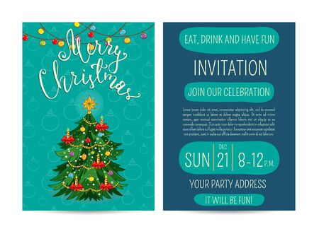 beautifully: Invitation on Christmas party with date and time. Beautifully decorated with toys, garlands, candles Christmas tree cartoon vector. Merry Christmas and happy New Year greetings. Xmas fun celebrating Illustration