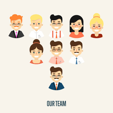 hierarchy: Group of smiling male and female faces avatars on white background. Our team banner, vector illustration. Teamwork and business team concept. Corporate hierarchy. Human resource management Illustration