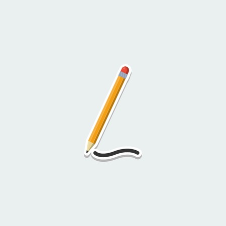 School symbol - pencil with eraser. School education, drawing and writing colorful single icon. Basic element for web isolated on white background vector illustration in flat design. Illustration