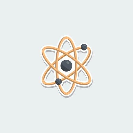 vector nuclear: Science symbol - sphere atom. School education, science research, nuclear physics colorful single icon. Basic element for web isolated on white background vector illustration in flat design. Illustration