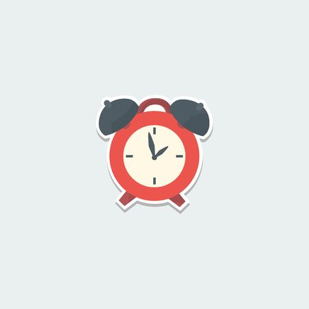 up time: School symbol - alarm clock. School education, wake up time, planning and time control colorful single icon. Basic element for web isolated on white background vector illustration in flat design.