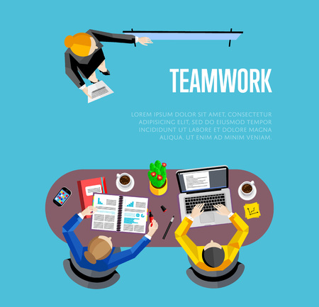 board meeting: Top view teamwork business banner, vector illustration. Businesswoman making presentation near whiteboard to his colleagues at meeting. Board meeting in office. Collaboration and partnership concept