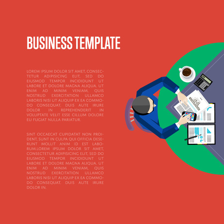 overhead: Top view business workplace, vector illustration. Overhead view of businessman working with financial documents at office desk. Business people template with space for text on red background.