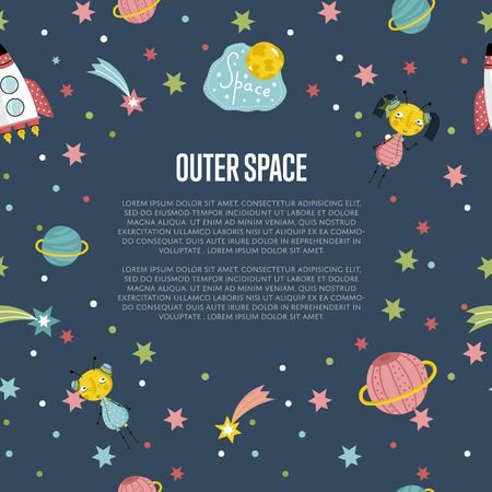 astro: Outer space cartoon banner. Spaceship, cute alien girl and boy, stars, comet, Saturn and earth planets vector illustrations on blue background. For planetarium, astro club, childrens cafe web page