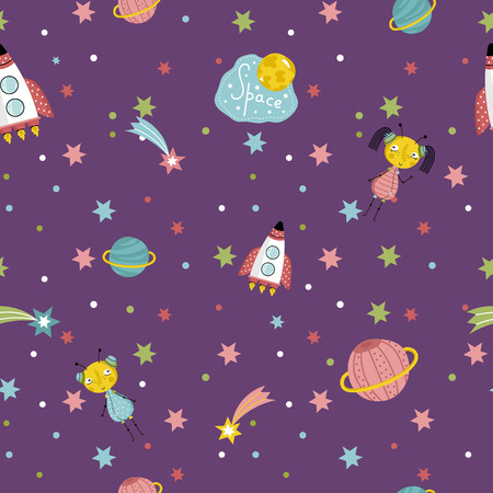 interstellar: Space interstellar travels cartoon seamless pattern. Flying spaceship, cute alien girls with pigtails, colorful stars, comets, Saturn and earth planets vector illustrations on dark violet background Illustration