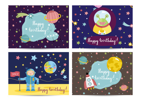 among: Happy birthday cartoon greeting card on space theme. Astronaut on moon, funny alien, rocket and flying saucer among stars and planets vectors set. Bright invitation on childrens costumed party