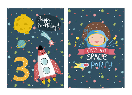 among: Happy birthday cartoon greeting card on cosmic theme with number three. Rocket flying in outer space among stars and planets, smiling astronaut vectors. Bright invitation on childrens costumed party Illustration