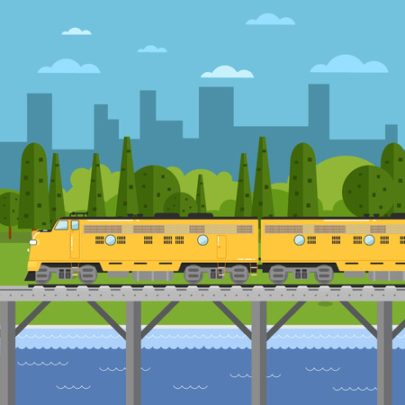 diesel train: Yellow freight train moving on bridge on background of cityscape vector illustration. Railway transport design concept. Side view of powerful diesel locomotive. Cargo train on railroad.
