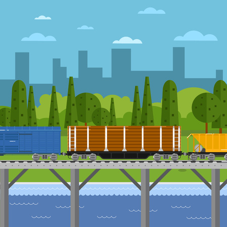 boxcar: Side view of mixed freight train on bridge within urban landscape vector illustration. Cityscape background. Logistics railway transport design concept. Cargo train on railroad.