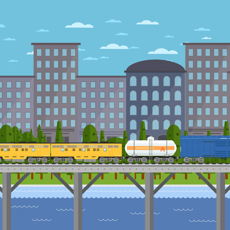 Container freight train moving on bridge on background of cityscape vector illustration. Logistics railway transport design. Side view of powerful diesel locomotive. Cargo train on railroad. Illustration