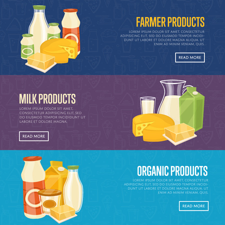 Farmer, milk and organic products horizontal website templates with different dairy composition isolated on color background, vector illustration. Nutritious and healthy products. Natural healthy food Illustration