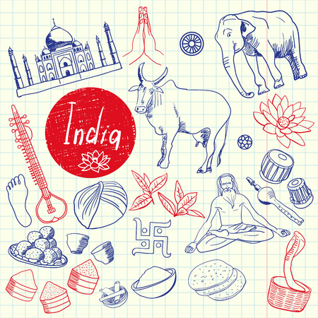sketched icons: India associated symbols. Indian national, cultural, architectural, culinary, nature, historical, religious related hand drawn doodles vector set. Sketched asian icons