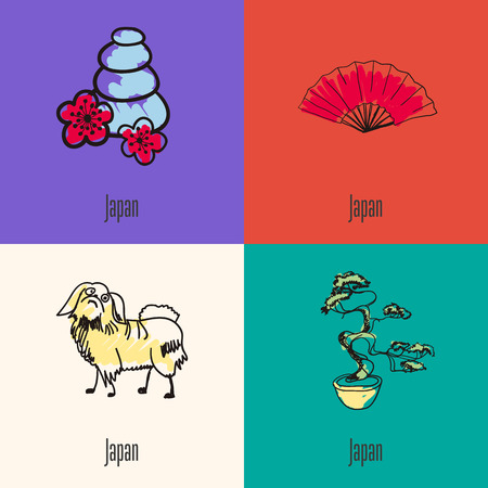 Japanese national symbols. Massage stones with cherry flowers, hand fan, bonsai, japanese chin hand drawn doodle vector icons collection with caption. Country concept for travel company ad, web design