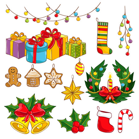 wreathe: Merry Christmas and Happy New Year collection vector illustration. Light decoration, garland wreathe, giftbox, toys for christmas tree, bell, christmas stocking isolated on white background.