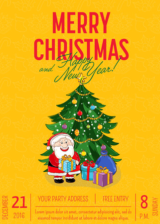Christmas party promo poster with date and time. Santa, gifts, decorated toys Christmas tree cartoon vector on orange background. Merry Christmas and Happy New Year greetings. Xmas celebrating Illustration