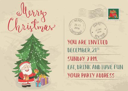 Vintage Postcard Kerstmis met postzegels. Vrolijke kerstman, verpakte giften, kerstboom cartoon vectoren. Uitnodiging van de Vakantie feest. Vrolijk Kerstfeest en Gelukkig Nieuwjaar wenskaart. Xmas brief