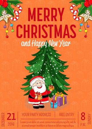 Christmas party promo poster with date, time. Santa, gifts, Christmas tree, gingerbread cookies, holly, candy, garland cartoon vectors. Merry Christmas and Happy New Year greetings. Xmas celebrating