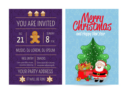 merry time: Invitation on Christmas party with date and time. Cheerful Santa near sack of gifts, christmas tree, gingerbread cookies cartoon vectors. Merry Christmas and happy New Year greetings. Xmas celebrating Illustration