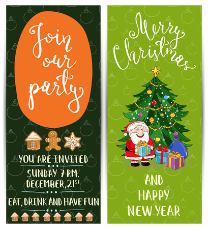 merry time: Invitation on Christmas party with date and time. Cute Santa, gifts, decorated christmas tree, gingerbread cookies cartoon vectors. Merry Christmas and happy New Year greetings. Xmas fun celebrating
