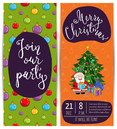 merry time: Invitation on Christmas party with date, time and slogan. Funny Santa, wrapped gifts, decorated toys christmas tree cartoon vectors. Merry Christmas and happy New Year greetings. Xmas fun celebrating