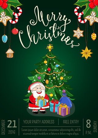 Christmas party promo poster with date, time. Santa, gifts, decorated Christmas tree, gingerbread cookies, holly, candy cartoon vector. Merry Christmas and Happy New Year greetings. Xmas celebrating Illustration
