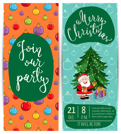 merry time: Invitation on Christmas party with date, time, slogan. Cute Santa, wrapped gifts, christmas tree toys cartoon vector. Merry Christmas and happy New Year greetings. Xmas fun. Winter holiday celebrating