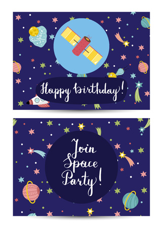 Happy birthday cartoon greeting card on cosmic theme. Space satellite, rocket, colorful stars, comet and planet vector illustrations on blue background. Bright invitation on childrens costumed party