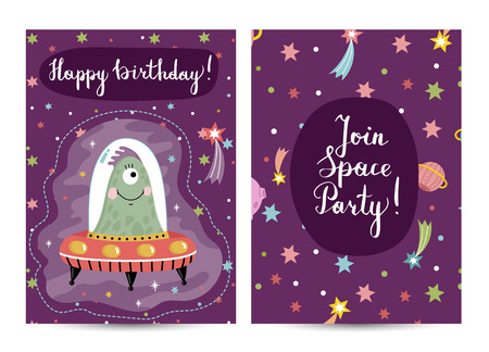 Happy birthday cartoon greeting card on space theme. Cute jelly alien on flying saucer among stars and planets vector illustration on violet background. Bright invitation on childrens costumed party Illustration